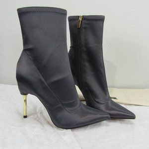 BCBG Jolie Stretch Satin Asphalt 9.5 heeled bootie